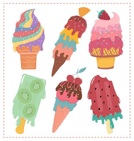 Handgezeichnete flache Vektor süß Pastell Eis geschmolzene Sommerkollektion