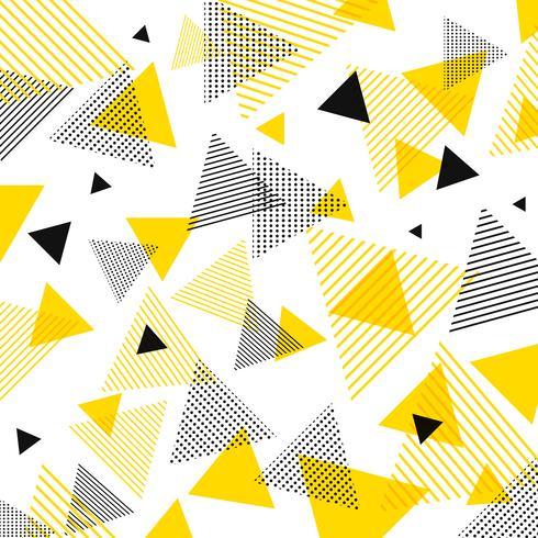 Abstrakt modern gul, svart trianglar mönster med linjer diagonalt på vit bakgrund. vektor