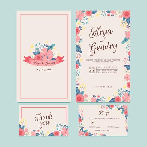 Hand gezeichnete Frühlings-Blumen-Hochzeits-Einladung, Blumen-Band, danke zu kardieren, Muster, UAWG. Druckbare Vorlagen mit Blumen, Blumensammlung. Vektor - Illustration