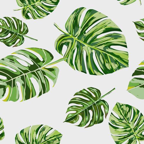 Handritad tropisk löv sömlös mönster vektor