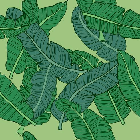 Handritad tropisk sömlös mönster vektor