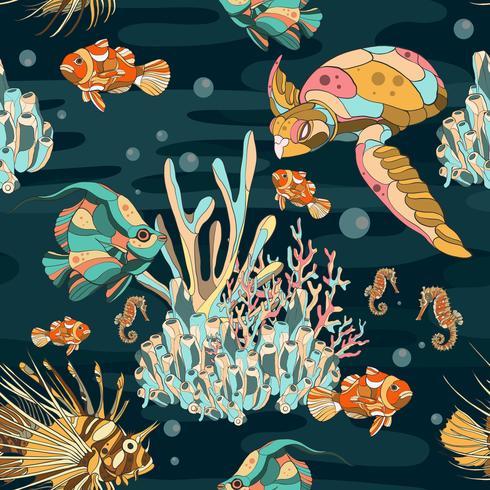 Akvarium under vattnet sömlöst vektor