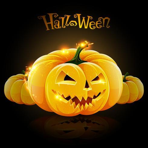Belysning halloween pumpa vektor