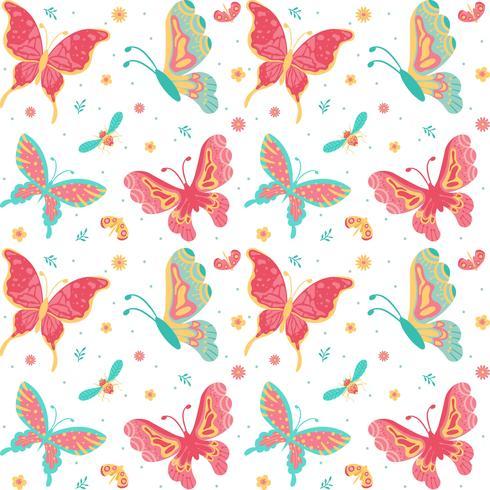 Handdragen Fjärilar, insekt, blommor och växt Sömlös mönster isolerad på vit bakgrund - Vektor illustration