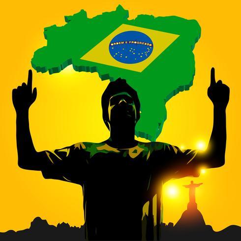 Brasilianischer Fußballspieler feiert vektor