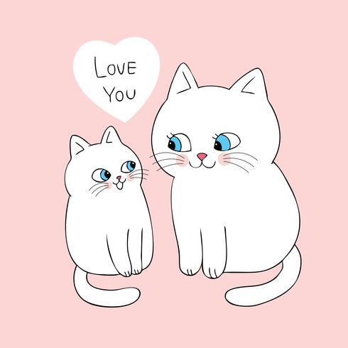 Tecknad gullig mamma och baby katt vektor. vektor