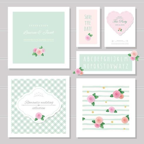 Bröllopskortmallar. Dekorerad med rosor. Inbjudan, spara datumet. Pastell rosa och grön. Romantisk samling, inklusive ramar, mönster, smalt handskriven alfabet. vektor