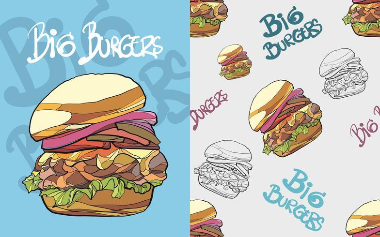 Hamburger sömlöst mönster vektor