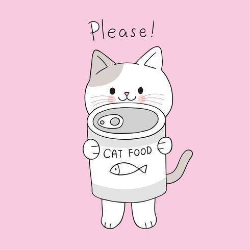 Nette Katze der Karikatur und Dosenlebensmittelvektor. vektor