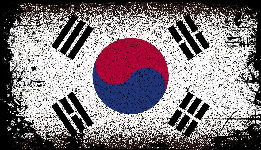 Sydkorea Grunge flagga. vektor bakgrunds illustration