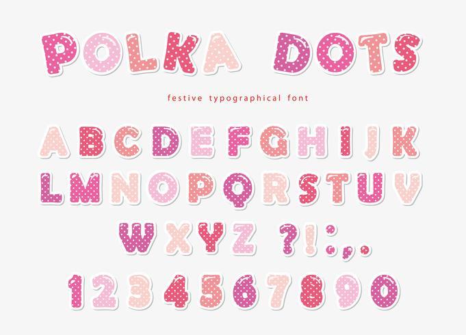 Gullig polka dots stilsort i pastellrosa. Paper cutout ABC bokstäver och siffror. Roligt alfabet för tjejer. vektor
