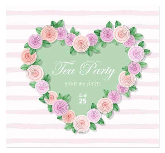 Hjärta dekorerad med rosmall. Födelsedag, bröllopsinbjudan, Alla hjärtans dagkort, anteckningsblock för flickor. vektor