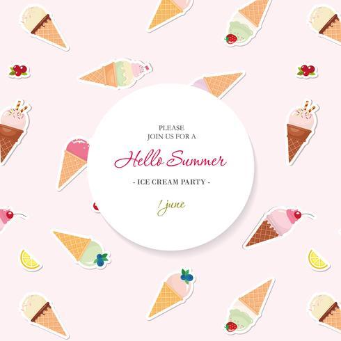Hallo Sommerhintergrund. Muster mit Eistüten in Farbfeldern hinzugefügt. vektor