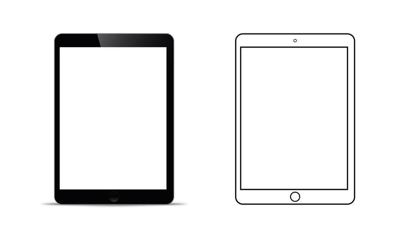 mockup framför en svart tablett som ser realistisk ut med en genomskinlig blank skärm. vektor