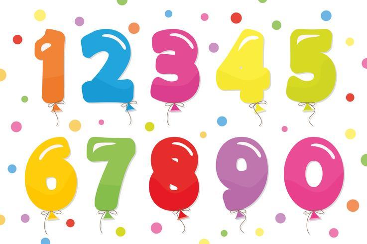 Ballon Coloder-Nummern festgelegt. Für Geburtstags- und Partyfestgestaltung. vektor