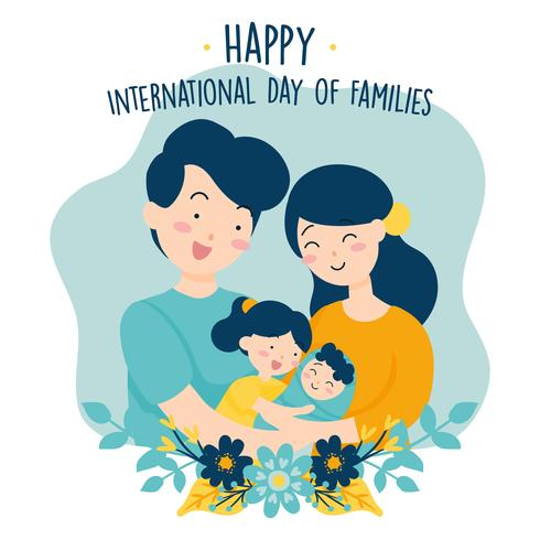Handritad Internationell Familjedag / Internationell Familjedag med Blomsterkrans Kärlek Bakgrund - Fadern Mor Dotter Son Bebis Vektor Illustration