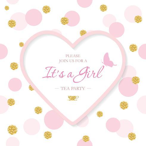 Tjej baby shower inbjudan mall. Inkluderad laserskärning hjärtformad ram på sömlöst polka dot mönster med glitter konfetti. Kan användas för Alla hjärtans dag eller bröllopsdesign. vektor