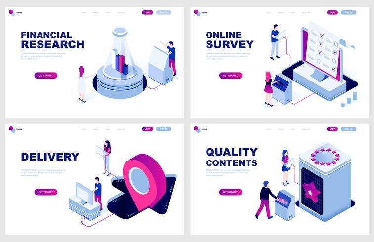 Set med isometrisk målsida mall för Finans, Leverans, Online Survey. Kvalitetsinnehåll. Modern vektor illustration isometriska koncept dekorerade människor karaktär för webbutveckling.
