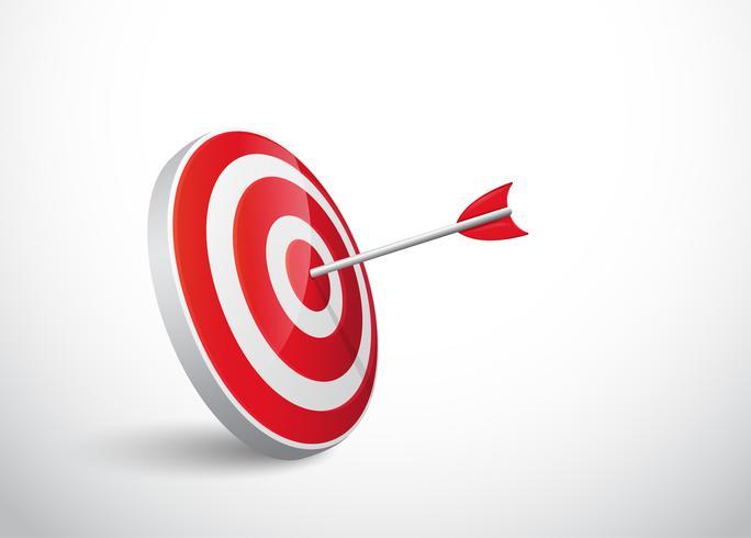 Das Konzept des Erfolgs des Pfeilbogens zum Ziel. vektor