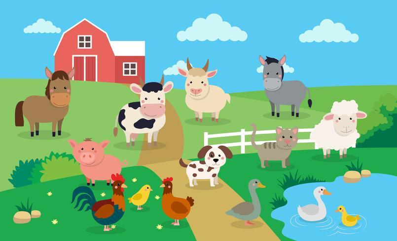 Gårddjur med landskap - vektor illustration i tecknad stil, barn s bok illustration