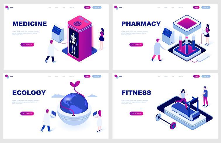 Set av isometrisk målsida mall för medicin, apotek, ekologi, fitness. Modern vektor illustration isometriska koncept dekorerade människor karaktär för webbutveckling.