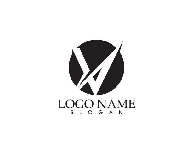 V-brev företagslogotyp och symbolmall vektor