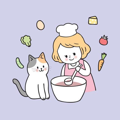 Tecknad söt tjej och katt matlagning vektor. vektor