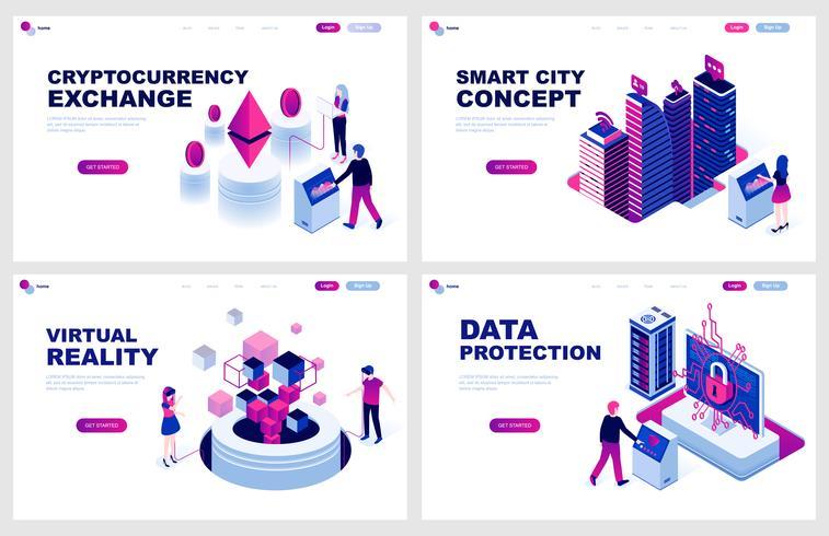 Set med isometrisk målsida mall för Cryptocurrency, Smart City, Virtual Reality, Protection. Modern vektor illustration isometriska koncept dekorerade människor karaktär för webbutveckling.