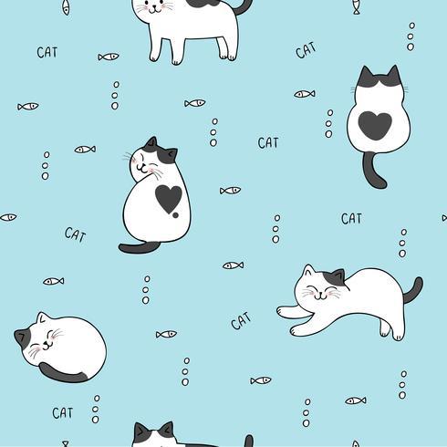 Tecknad söt katt och fisk sömlös mönster vektor. vektor