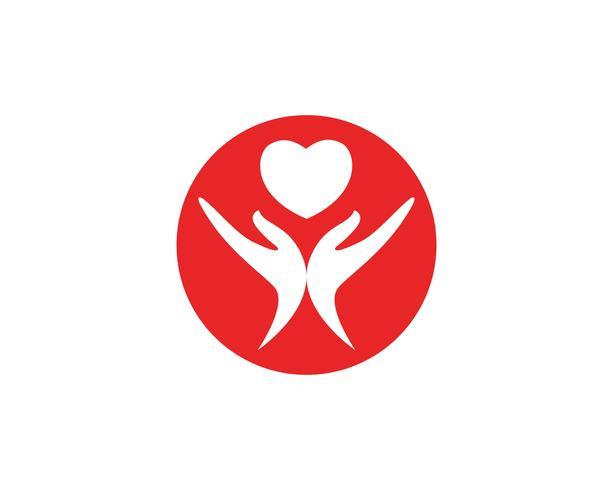 Kärlek röd hand Logo och symboler Vektor Mall ikoner
