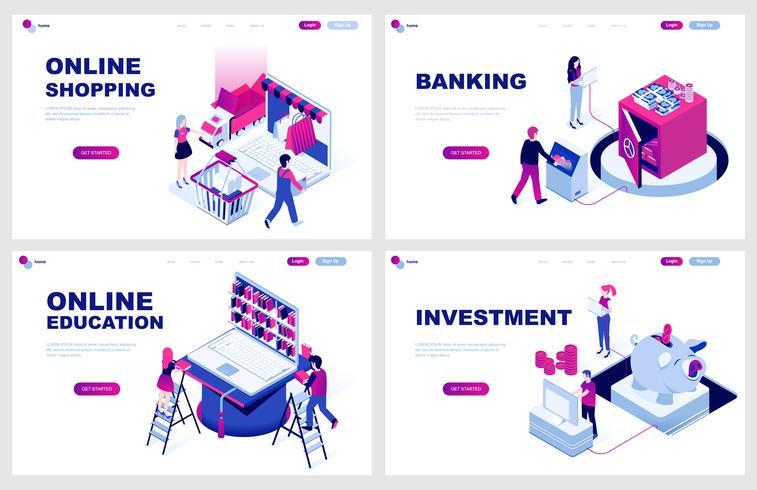 Set med isometrisk målsida mall för online shopping, bank, utbildning, investering. Modern vektor illustration isometriska koncept dekorerade människor karaktär för webbutveckling.