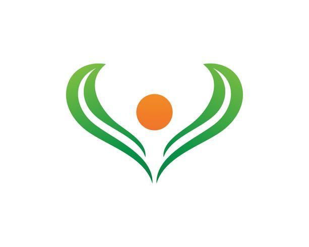 Människokaraktärslogotyp, Hälsovårdslogo. Natur logotyp tecken. Grön livslogotypskylt vektor