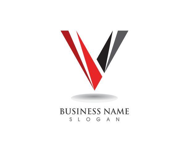 V-logotyp affärsobjektikoner vektor