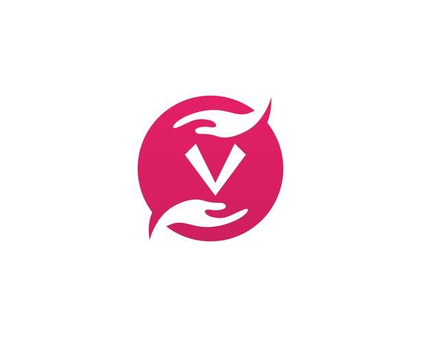 Hand v-terapi logotyp och symboler mall ikoner vektor