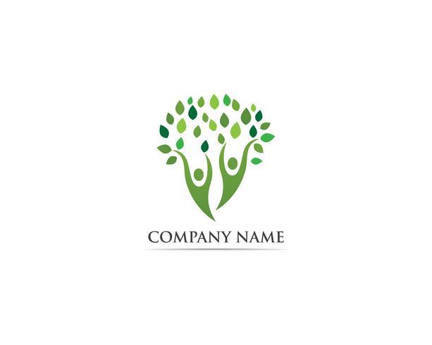 Träd familj folk logotyp vektor mall