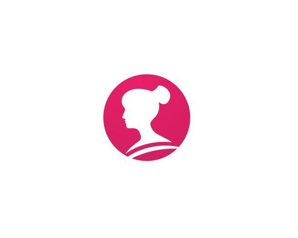 Hårkvinna logotyp och symbolvektorer vektor