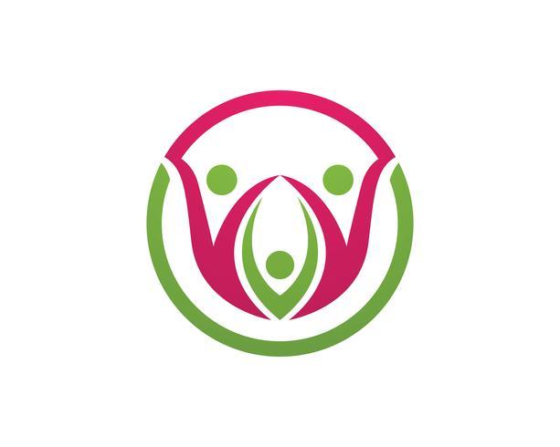 Gesundheitsfamilienpflegetherapielogo und Symbolnatur vektor