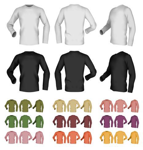 Långärmad tomt t-shirt mall. Fram, bak och sidovy. vektor