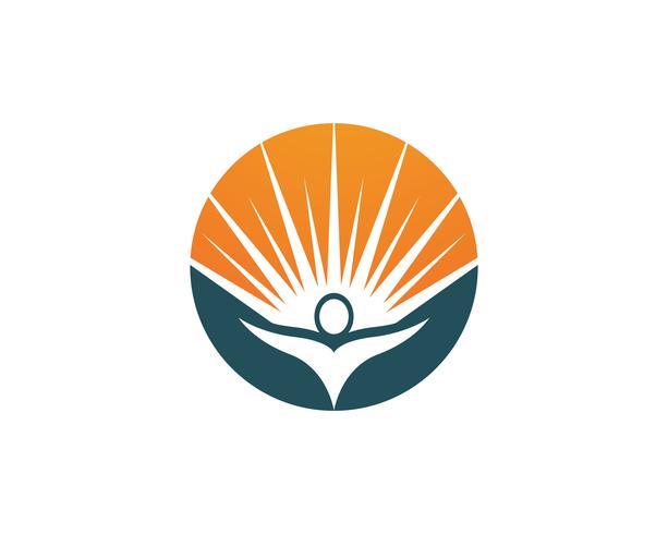 Människor vård och sol naturterapi vektor logotyp
