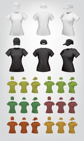 Enkel kvinnlig t-shirt och mössa mall. vektor
