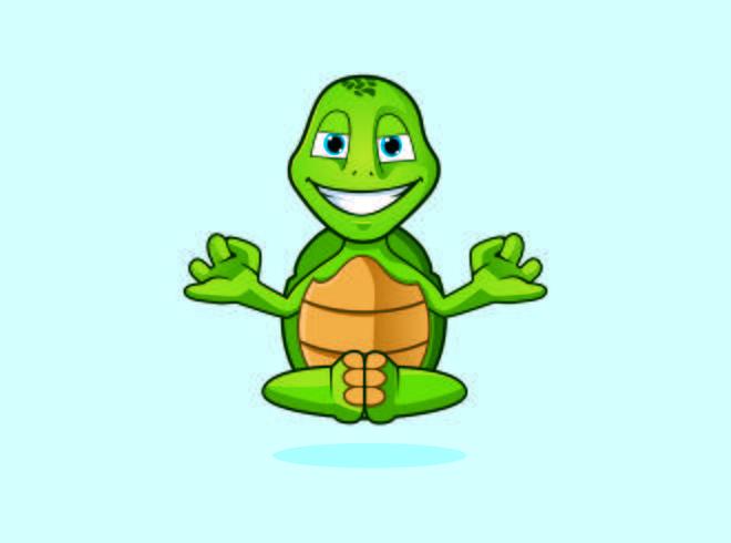 Zen Yoga Turtle Monk Charakter Logo Maskottchen Designs vektor