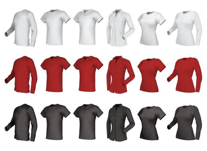 Polo, skjortor och t-shirts set. vektor