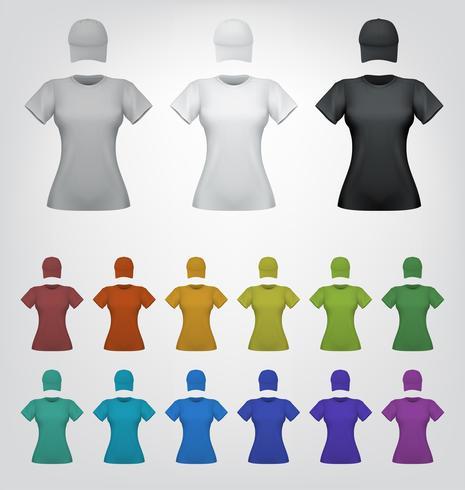 Enkel kvinnlig t-shirt och mössa mall vektor