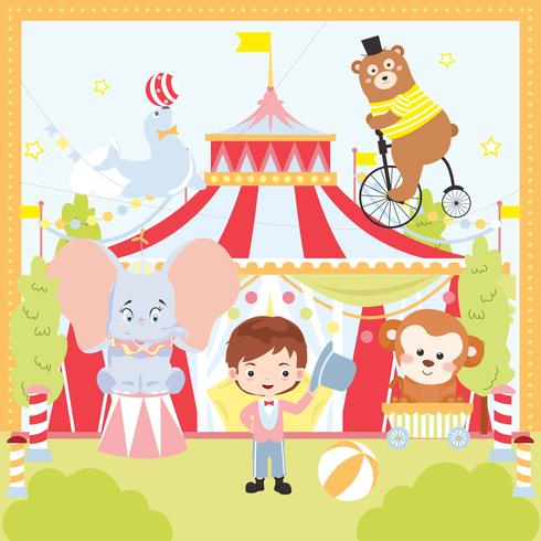 Retro cirkus söt djur vektor illustration