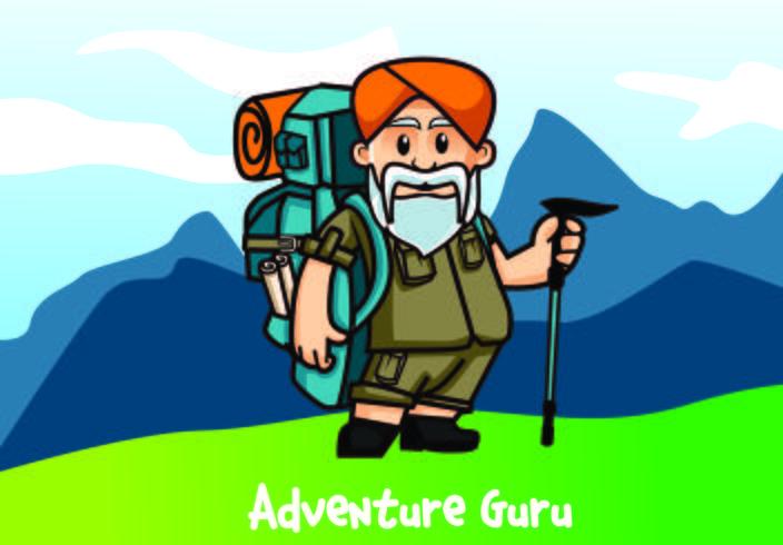 Guru Adventure Charakter zu reisen vektor