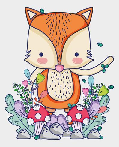 Fox in den Waldgekritzelkarikaturen vektor