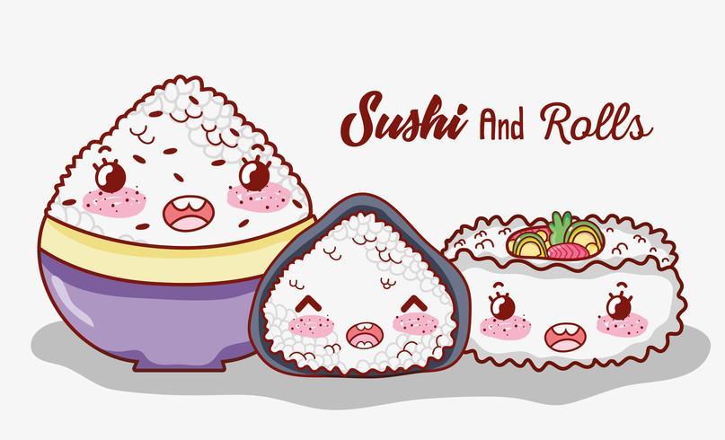 Sushi och rullar söta kawaii teckningar vektor