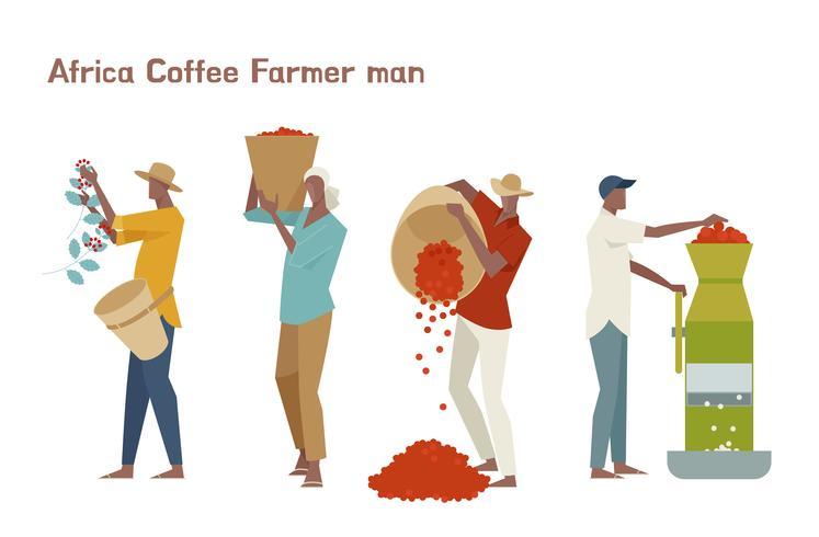 Manlig kaffebönare teckenuppsättning. vektor