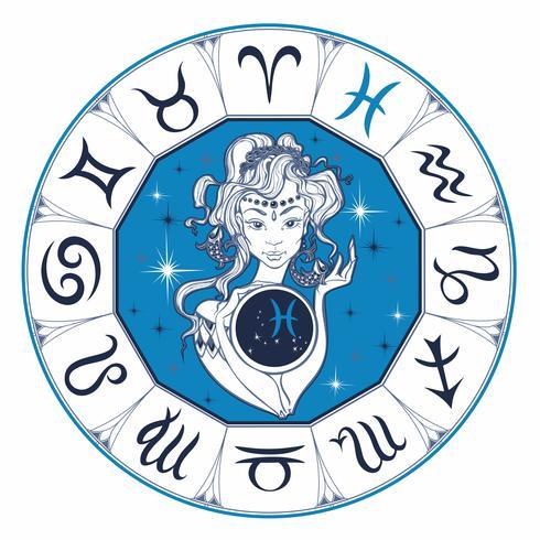 Zodiac sign Pisces en vacker tjej. Horoskop. Astrologi. Vektor. vektor