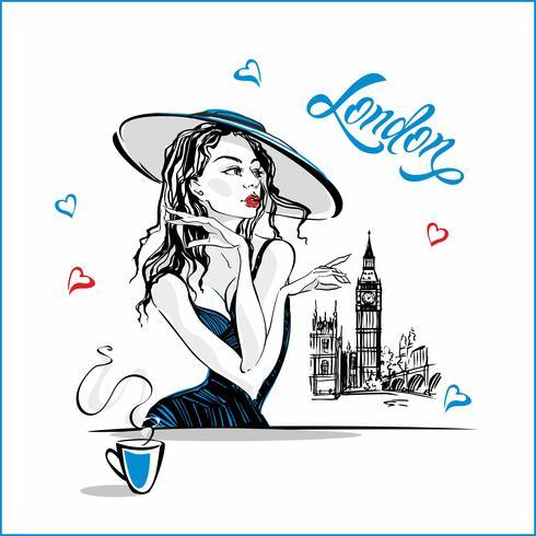 Flickan i hatten dricker kaffe. Modemodell i London. Big Ben. Romantisk komposition. Elegant modell på semester. Semester. Turistnäringen. Vektor. vektor